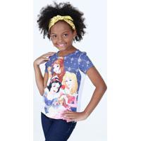 Blusa Infantil Estampa Princesas Manga Curta Disney