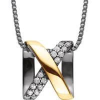 Pingente Prata Ouro Amarelo E Topázio Espartilho Prata