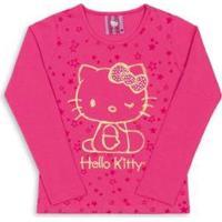 Blusa Infantil Estampada Hello Kitty Feminina - Feminino-Rosa Escuro