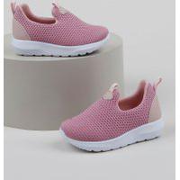 Tênis Infantil Baby Club Knit Calce Fácil Com Recortes Rosa