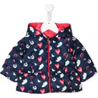 Emporio Armani Kids Heart Print Down Jacket - Azul