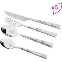 Faqueiro Marmorizado Bon Gourmet- Inox & Branco- 24Projemac