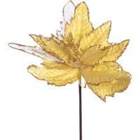 Flor Natalina Decorativa- Dourada- 35X30X8Cm- Mamabruk