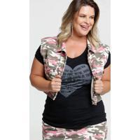 Colete Feminino Sarja Estampa Camuflada Plus Size Razon