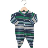 Macacão Tip Top Longo Baby Menino Cinza/Azul