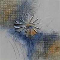 Quadro Artesanal Com Textura Margarida Azul 30X30Cm Uniart