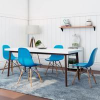 Conjunto De Mesa Groove Branco E Imbúia Com 4 Cadeiras Eames Azul