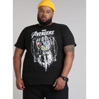Camiseta Masculina Plus Size Manopla Os Vingadores Manga Curta Gola Careca Preta