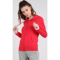 Blusão Feminino Esportivo Ace Com Capuz Em Moletom Vermelho