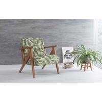 Poltrona Para Quarto Anis Verniz Amendoa Tec.S1865 Folhas Verdes 72X76X85 Cm