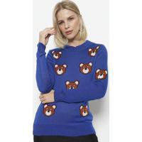 Blusa Em Tricot Ursos - Azul Marinho & Marromponto Aguiar