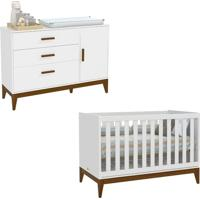 Berço Americano E Cômoda Infantil 1 Porta Nature Branco Eco Wood – Matic