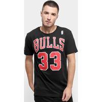 Camiseta Chicago Bulls Mitchell & Ness Pippen 33 Masculina - Masculino-Preto