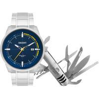 Kit Relógio Masculino Orient Mbss1295-D1Sx Analógico Calendário 5 Atm + Canivete