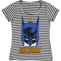 Blusa Infantil Batman Manga Curta - Feminino-Preto+Branco