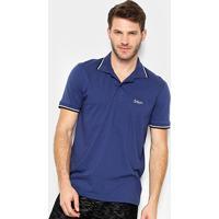 Camisa Polo Burn Basic Color Masculina - Masculino-Marinho