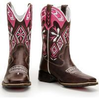 Bota Texana De Couro Legítimo Country Capelli Boots Feminina - Feminino-Rosa