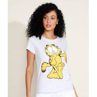 Blusa Feminina Garfield Manga Curta Decote Redondo Lilás