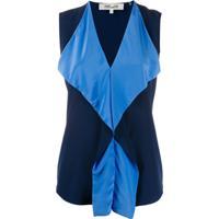 Diane Von Furstenberg Blusa Com Babados Isabel - Azul