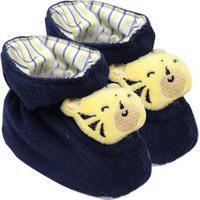 Pantufa Bebê Masculino Plush Atoalhado Azul Marinho Tigre (Rn) - Pimpolho - Tamanho Rn - Azul Marinho