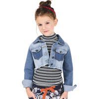 Jaqueta Jeans Infantil Feminina Modelo Cropped Puc [] []