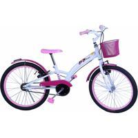 Bicicleta Dalannio Bike Feminina Aro 20 Fashion Com Cestinha Branco E Rosa