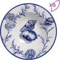 Conjunto De Pratos Fundos Flat Conchas- Branco & Azul Esscalla Cerâmica