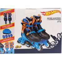 Patins Ajustáveis Com Kit De Segurança - 4 Rodas - Tam. 33 A 36 - Hot Wheels -Azul E Laranja - Fun