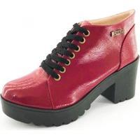 Bota Quality Shoes Tratorada Verniz Feminina - Feminino-Vermelho Escuro