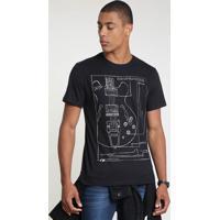 "Camiseta Masculina ""Let'S Rock"" Manga Curta Gola Careca Preta"