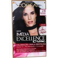 Coloração Imédia Excellence Creme N°2.8 N°2.8 Preto Extra Profundo Elseve 1 Unidade
