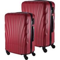Conjunto De 2 Malas De Viagem Em Abs Fuseco Qlink 12 Cadeado Embutido Rodas 360º - Unissex-Vermelho