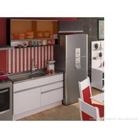 Cozinha Modulada Completa 3 Módulos 100% Mdf Branco/Ébano/Preto - Glamy
