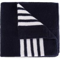 Thom Browne Kids Cobertor Listrado De Caxemira - Azul