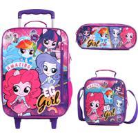 Mochila Com Rodinhas Equestria Girls Pink Com Lancheira E Estojo - Rosa - Menina - Dafiti