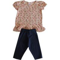 Conjunto Infantil Menina Blusa E Calça Capri Floral