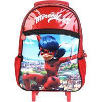 Mochila De Rodinhas Infantil Pacific Miraculous Ladybug - Feminino-Vermelho