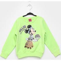 Moletom Infantil Cativa Disney Minnie Roller Feminina - Feminino-Verde