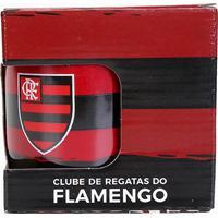 Caneca Flamengo Porcelana 290 Ml Luva - Unissex-Preto+Vermelho