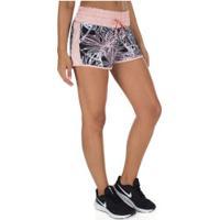 Shorts Com Proteção Solar Uv Vestem Sweet Flowers Estampado - Feminino - Preto/Rosa Cla