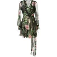 Dolce & Gabbana Chiffon Rose Print Dress - Preto