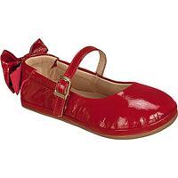 Sapato Boneca Em Couro Com Laã§O- Vermelha- Kidskimey