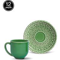 Conjunto 12Pçs Xícaras De Café Porto Brasil Greek Verde