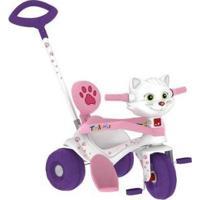 Triciclo Infantil Tonkinha Gatinha Com Empurrador - Unissex-Branco+Rosa