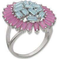 Anel Oval Rosa Pink E Azul Com Tiras De Zircônias E Banho Em Prata