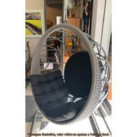 Poltrona Balanco Bowl Preto Revestido Em Corda Prata Com Suporte De Chao Pintura Eletrostatica Grafite - 50859 - Sun House