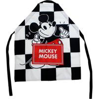 Avental Canvas Xadrez Com Bolso Mickey 75 X 60 Cm