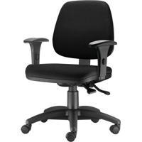 Cadeira Job Com Bracos Semi Curvados Assento Crepe Preto Base Nylon Arcada - 54594 - Sun House