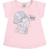 Blusa Meia Malha - 46100-1183 - (0 A 12 Meses) Blusa Rosa Lumi - Bebê Menina Meia Malha Ref:46100-1183-P