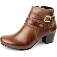 Ankle Boot Couro Sapatofran Perlatto Fivela Feminina - Feminino-Marrom